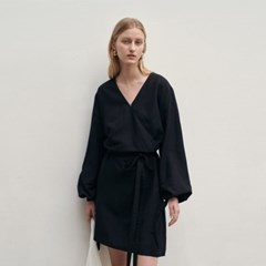 BELT MINI WRAP DRESS_BLACK