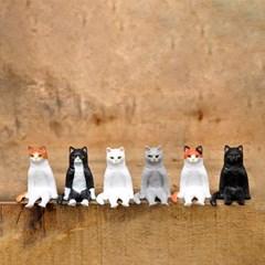 앉아있는 고양이 피규어 6종세트