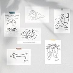 피카소 & 마티스 드로잉 그림 미니포스터 엽서 6장 세트