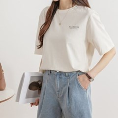 여성 데일리 여름 반팔티 티셔츠 백스퀘어 일러스트