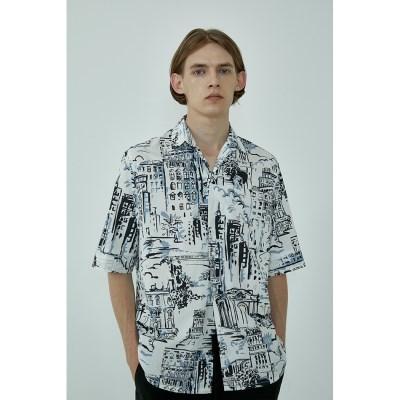 마렌 썸머 씨티 패턴 오픈카라 반팔 셔츠
