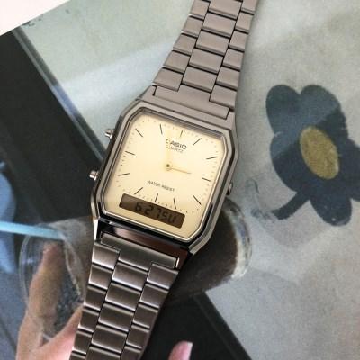 [카시오정품] 스퀘어 레트로 메탈 손목 시계_블랙(화이트)