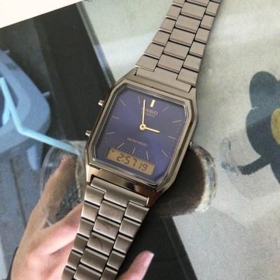 [카시오정품] 스퀘어 레트로 메탈 손목 시계_블랙(블루)