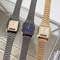[카시오정품] 5종 스퀘어 레트로 메탈 손목 시계