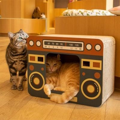 레트로 가전 디자인 고양이 골판지 스크래처