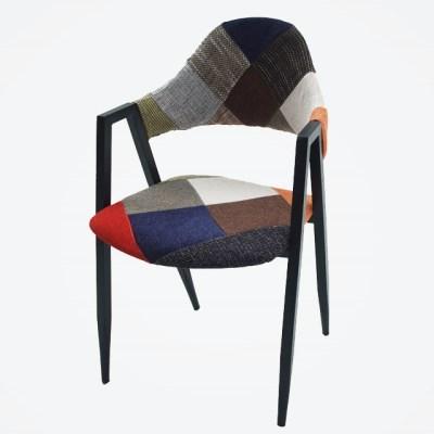 패브릭 퀄팅 1인용 인테리어 의자 (믹스컬러)