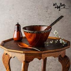 인현공방 천연옻칠 금부 우드 면기 + 수저 세트