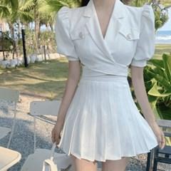 여성 투피스 세트 여름 크롭 자켓 주름 미니 스커트