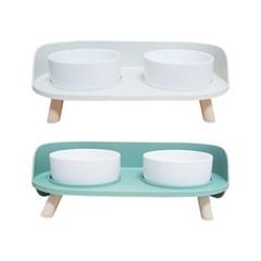 [블루마토] 더블 식탁 세라믹 반려동물 밥그릇 물그릇