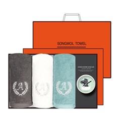 송월 타올시계선물세트(에이스150g 3p + 욕실시계 1p)+쇼핑백