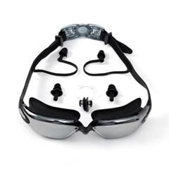클린뷰 귀마개일체 바다 수영장 수경 물안경(블랙)