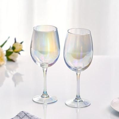 아크프랑스 홀로그램 오로라 와인잔 470ml 2P 홈카페유리컵