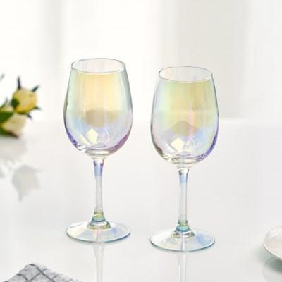 아크프랑스 홀로그램 오로라 와인잔 350ml 2P 홈카페유리컵