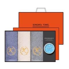 송월 타올시계선물세트(카이저160g코마40수3p+욕실시계 1p)+쇼핑백