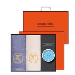 송월 타올시계선물세트(카이저160g코마40수2p+욕실시계 1p)+쇼핑백