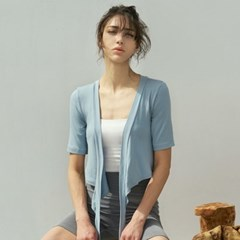 여성 요가복 DEVI-T0066-페일민트 발레 스트랩 가디건 반팔티