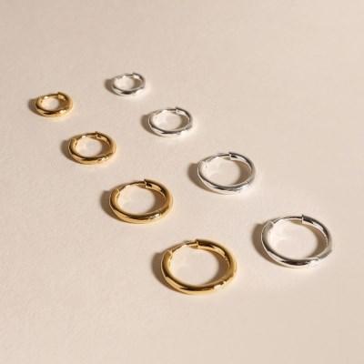 실버925 데일리 기본 심플 원터치 은 링 귀걸이