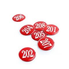 에폭시 원형 번호 숫자 스티커 10개입 / 빨강 1150