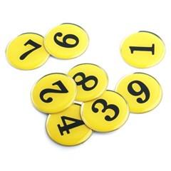 에폭시 원형 번호 숫자 스티커 10개입 / 노랑 1100