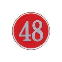 에폭시 원형 번호 숫자 스티커 10개입 / 중형 빨강 4842
