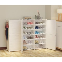 DIY 원목무늬 도어 수납 진열대 신발장(124x94cm)