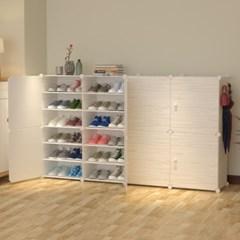 DIY 원목무늬 도어 수납 진열대 신발장(164x94cm)