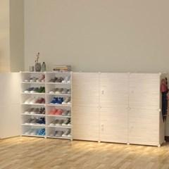 DIY 원목무늬 도어 수납 진열대 신발장(204x94cm)