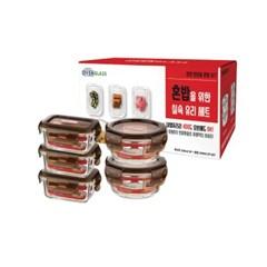 아이락 수퍼오븐글라스 내열유리 밀폐용기 혼밥 5조세트