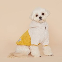 플로트 플러피후리스 아노락후드 강아지옷 옐로우
