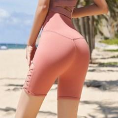 여성 하이웨스트 5부 레깅스 힙업 스판 스포츠 핑크