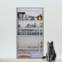 봉봉펫 고양이 안전문 방묘문 지퍼형 방충망 현관 펫도어