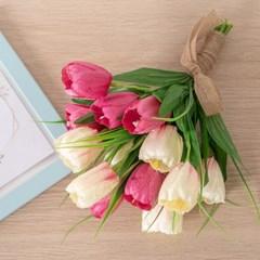베이직튤립부케 30cmP 조화 꽃 웨딩 결혼 축하 FMBBFT