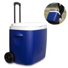 낚시 캠핑 이동식 38L대용량 아이스박스 캐리어형 손잡이 하드바퀴