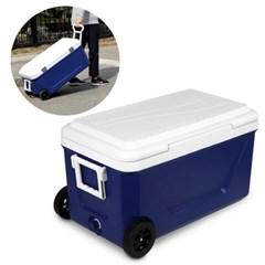 낚시 캠핑 이동식 45L대용량 아이스박스 캐리어형 손잡이 하드바퀴