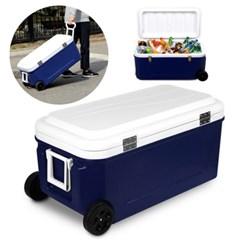 낚시 캠핑 이동식 80L대용량 아이스박스 캐리어형 손잡이 하드바퀴