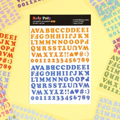 롤리폴리 알파벳&숫자 스티커 14종 세트