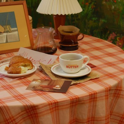 BUTTER peach jam 버터피치잼 식탁보 체크테이블보