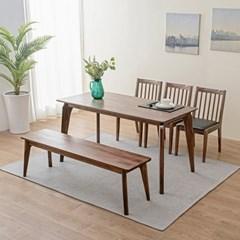 [리앳홈] 로렌 북유럽 장미나무 원목 6인용 식탁세트 벤치+의자