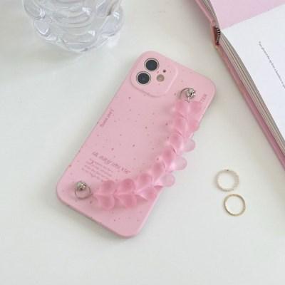 핑크 하트 스트랩케이스(아이폰전기종)