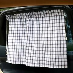 차박/캠핑 차량용 뒷유리 유아 햇빛가리개 디얼 체크 커튼 3종