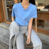 여성 데일리 여름 반팔티 티셔츠 메가 막힌 브이넥