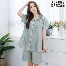 여성빅사이즈잠옷 시그니처 여름이지웨어 실내복 (라운드)