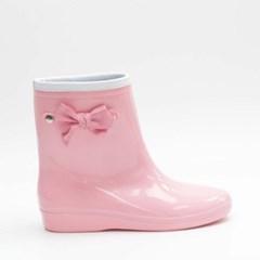 여자 리본 애나멜 유광 귀여운 분홍색 장화 레인부츠