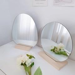 원목 우드 원형 조약돌 거울 노프레임 테이블 화장거울