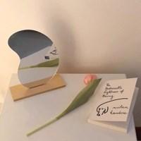 아크릴 반달 물결 화장거울 노프레임 테이블 거울