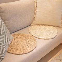 라탄 부들 원형 방석 2color 해초 얇은 왕골 방석매트