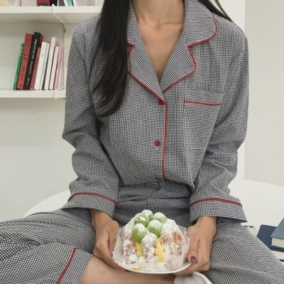 여성 데일리 여름 잠옷 세트 파자마 레잉 체크 배색