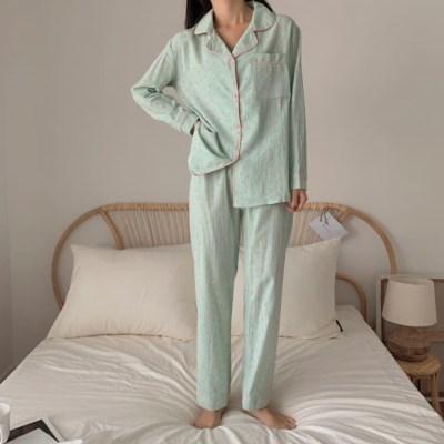 여성 데일리 여름 잠옷 세트 파자마 캐튼 도트