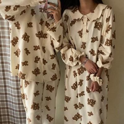 여성 데일리 여름 잠옷 세트 파자마 위베어