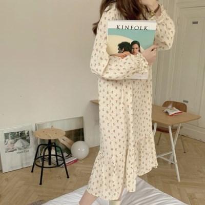 여성 데일리 여름 잠옷 세트 파자마 플라워 원피스